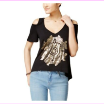 Belle Du Jour Juniors Graphic Cold-Shoulder Knit Blouse XS BLACK  - $3.61