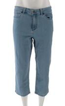 Denim & Co Petite Perfect Denim Crop Length Jeans Bleach Wash 10P NEW A3... - $28.69