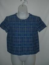 Size 2 Paul & Joe Sister Blue Black Grid Stripe SS Short Sleeve Top Shirt  - $18.49