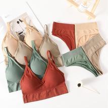 Women Bra Panties Set Push Up Sports Bra Set Sexy G-String Seamless Acti... - $26.95+