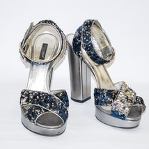 Dolce&Gabbana Silver Leather High Heels Sandals Ankle Strap Pumps Shoes US 9.5   - $210.06