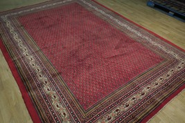 Vivid Boteh Flamed All-Over Persian Hand-Knotted 7x10 Red Mir Wool Area Rug image 2