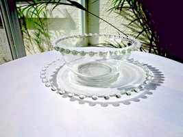 Imperial Glass Candlewick Pattern Mayonnaise Set Condiment Set Serving Bowl - $14.85