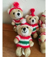 Lot of 6 Small Plush Tan Jointed Teddy Bears w Crocheted Hats & Shirts C... - $14.89