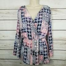 Honey Belle | Pink & Blue Floral Wallpaper Romper Size Medium Flare Slee... - $21.78