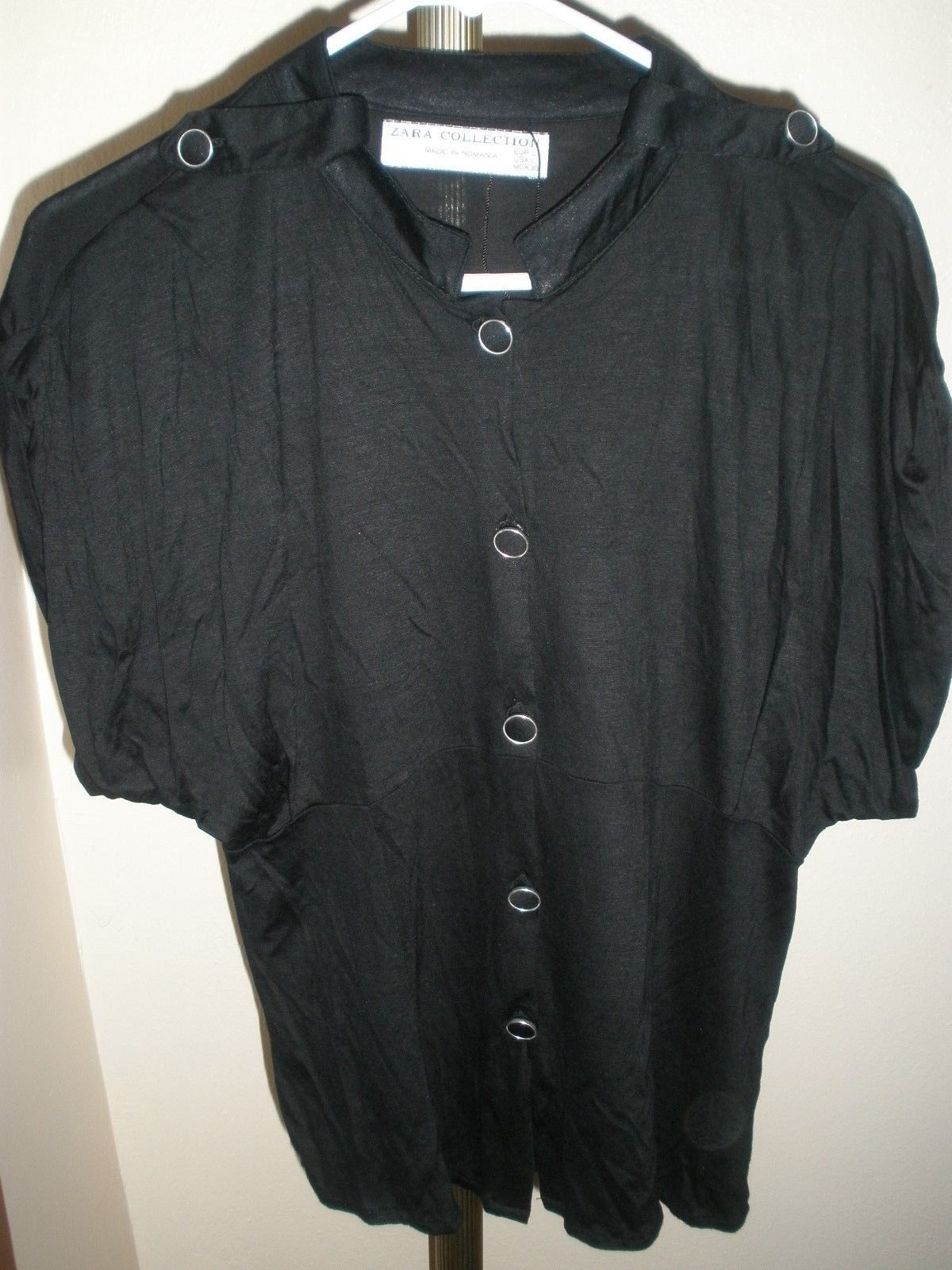 e86c933d04f01b S l1600. S l1600. Previous. NWOT WOMEN S ZARA COLLECTION MADE IN ROMANIA VISCOSE  BLACK S S TOP SZ LARGE