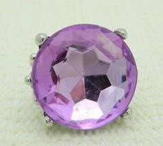 VTG Styled Silver Tone Large Purple Plastic Rhinestone Statement Ring S... - $19.80