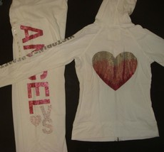 Victoria's Secret S HOODIE+S,M SWEATPANTS white PINK heart SEQUINED Ange... - $199.99