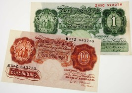 Lote de 2 Gran Bretaña Moneda Notas (10 Chelín & 1 Libra ) Vf-Xf Estado - $79.18