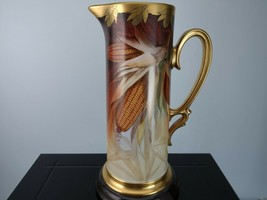 Artist Signed Brauer Limoges Hand Painted Large Tankard with Corn Decor - $322.58