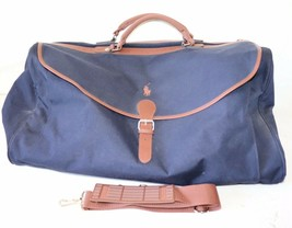 Polo Ralph Lauren VTG Navy Blue Travel Gym Duffel Bag Adjustable Strap - $59.99