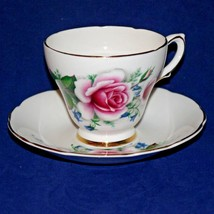 Delphine Bone China English Tea Cup & Saucer Floral Pink Roses - $9.99