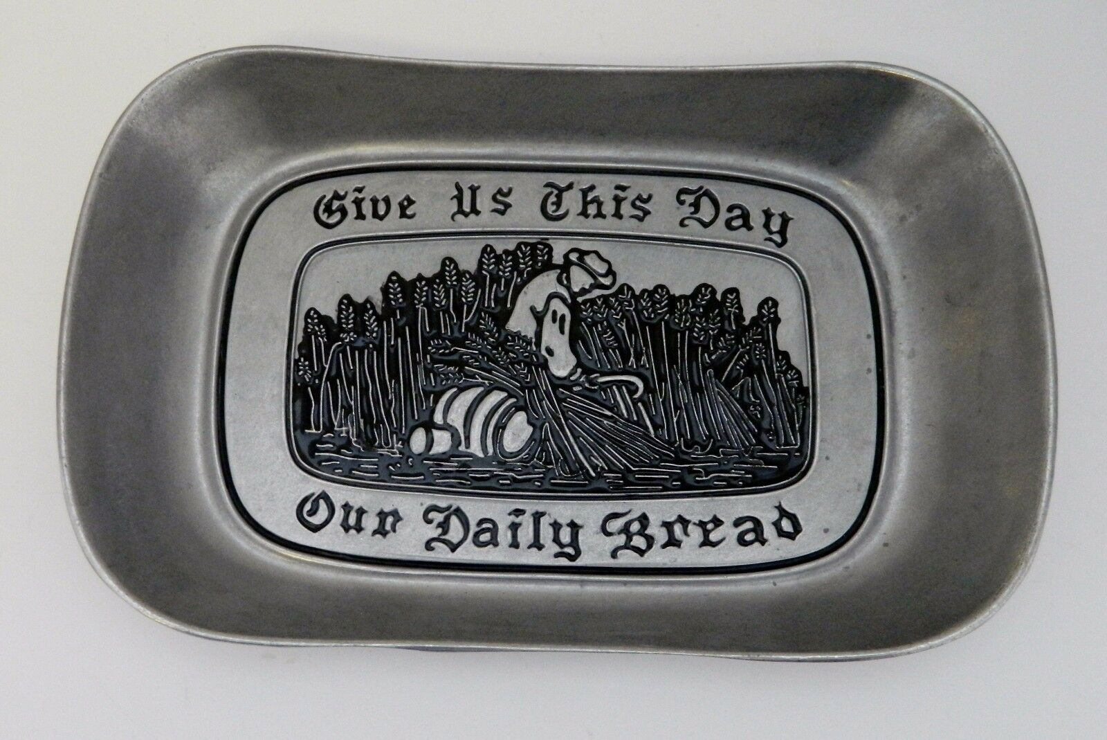Primary image for Wilton Armetale Pewter Bread Tray Give Us This Day Our Daily Bread Tray RWP VTG