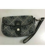 Dooney & Bourke Gray Jacquard Signature Canvas Leather Wristlet Made in USA - £44.45 GBP