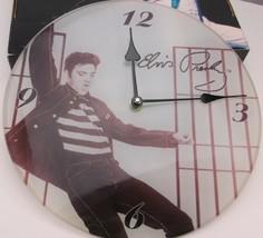 ELVIS PRESLEY JAILHOUSE ROCK GLASS WALL CLOCK BLACK & WHITE SIGNATURE NIOP - $21.99