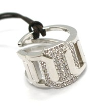 REBECCA BRONZE BAND RING, GOURMETTE LINK WITH ZIRCONIA, BELABB06, MADE IN ITALY image 1