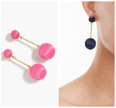 NWT J.Crew 100 %Authentic Wild Fuchsia Thread Ball Drop EARRINGS - $23.99