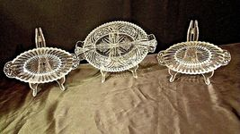 Heavy Etched Cut Glass Relish Tray and Two small Serving Trays AA20-CD0058 Vinta image 8