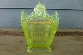 YELLOW IRIDESCENT VASELINE CARNIVAL GLASS Cat On A Hamper Basket SUMMIT ... - $49.77