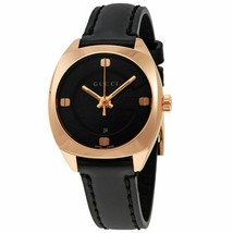 Gucci YA142509 Black Gold-tone Black Leather Women's Watch - $534.99