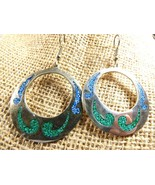 Vintage Alpaca Mexico silver color Turquoise Lapis Mosaic Circle earrings - $17.82