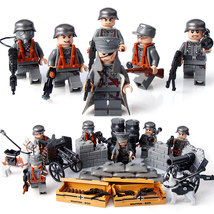 6PCS WW 2 Army Soldiers German With Weapon Guns Building Blocks fit LEGO - $44.90