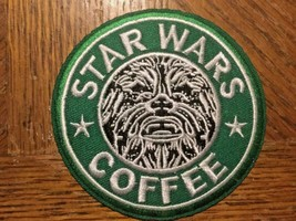"""Chewbacca STAR WARS Coffee Embroidered 3"""" Green Patch - $2.97"""
