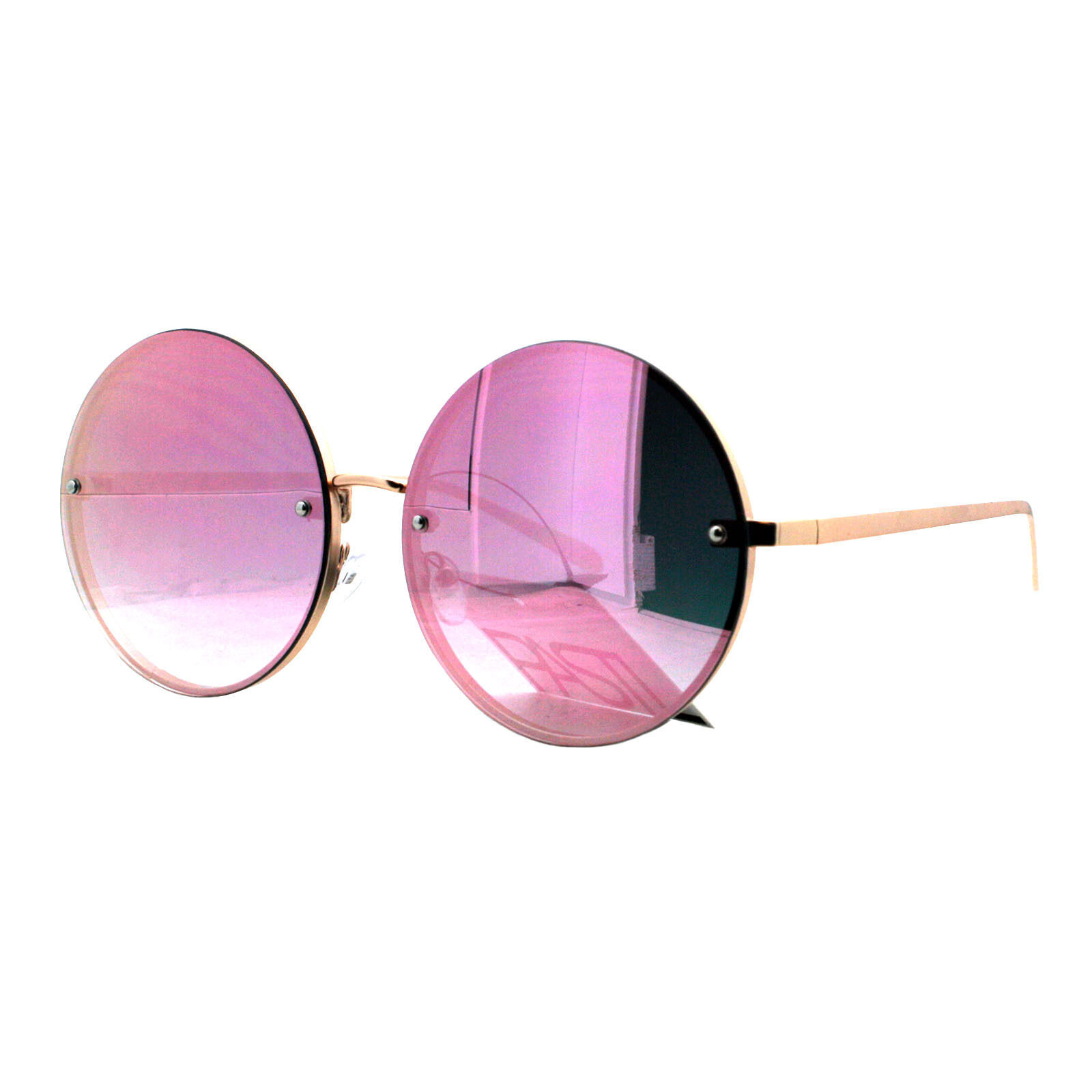 PASTL Super Oversized Round Sunglasses Womens Pink Mirror Lens UV 400 image 8