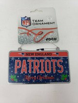 Foco NFL New England Patriots Football Metal License Plate Holiday Ornam... - $10.99