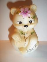 Fenton Glass August Birthday Magnolia Sitting BEAR Figurine GSE K Barley... - $115.92