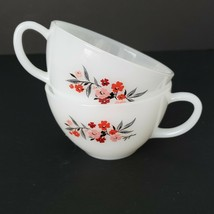 Fireking Milk Glass Coffee Tea Cups Set of 2 Floral Oven Ware Vintage US... - $34.65