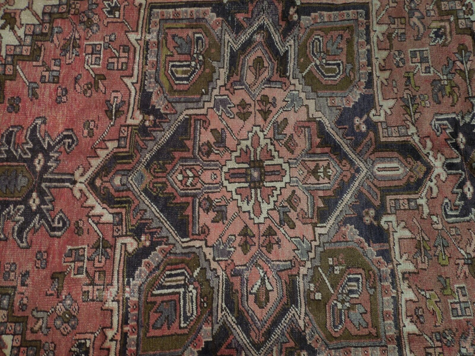 8x11 Red Heriz Wool Handmade Rust Worn-out Antique over 100 y o Persian Rug image 6