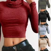 Newest Fashion Sexy Women High Collar Casual Long Sleeve Lace-up Crop Tops Slim