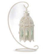 Hanging white metal green glass patio deck table candle holder lantern &... - $18.00