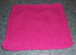 Brand New Hand Knit Cotton Dish Cloth Hot Pink Heart Design 4 Dog Rescue... - €9,18 EUR