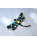 Dragonfly Pin HUGE Green and Blue Sparkling Rhinestones - $34.00