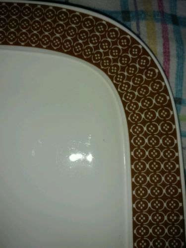 "Primary image for ROSENTHAL mid century modern Brown geometric rim 15.5"" platter"