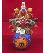 Nativity Scene Tealight Holder 'Tree of Life' Peruvian Ceramic Art Sculp... - $40.19