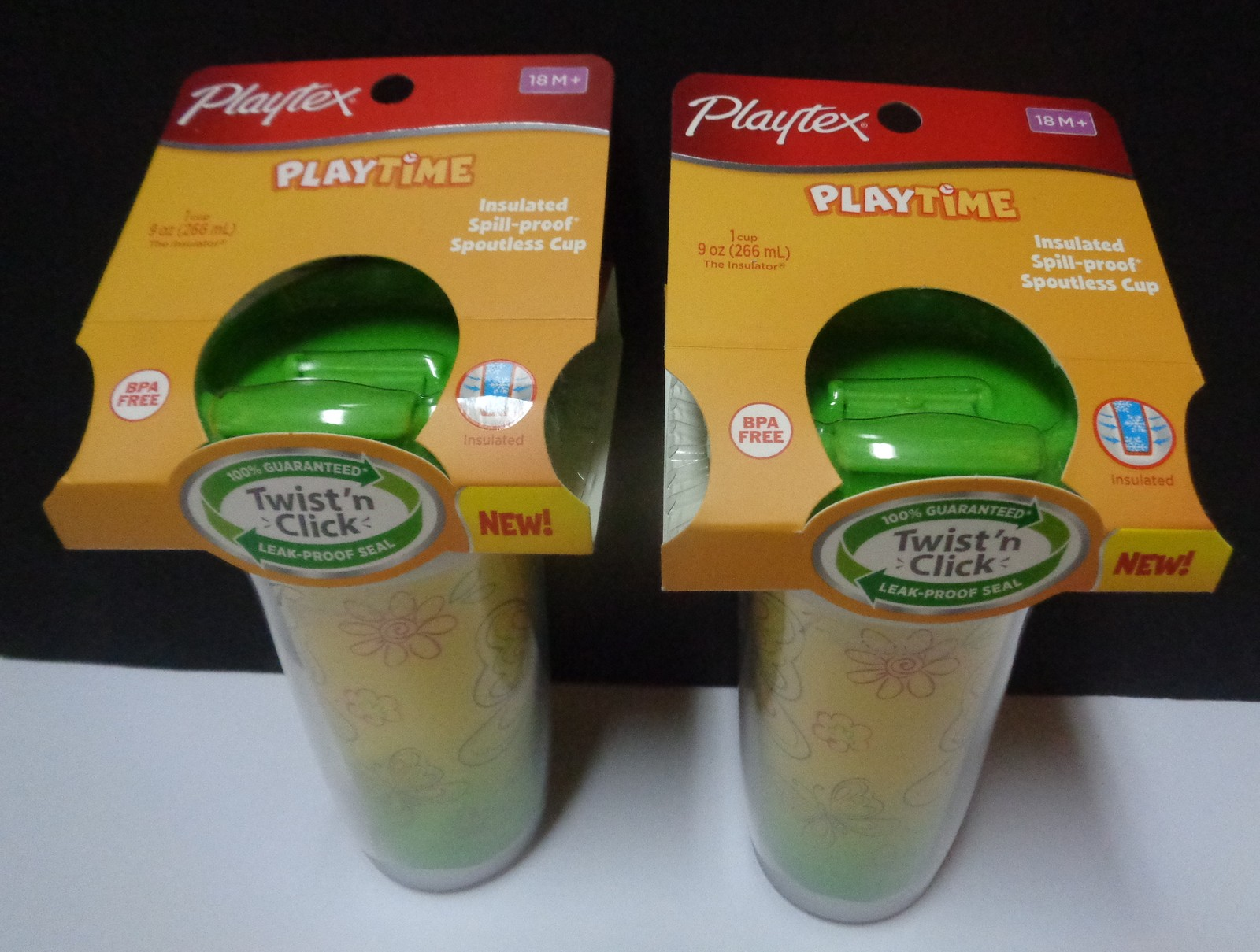 Playtex Twist N Click Butterfly Toddler Sippy Cups LOT OF 2 NWT