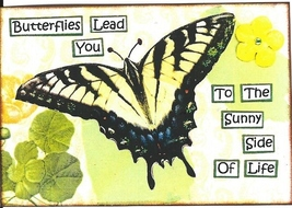 ACEO ATC Art Card Collage Print Butterflies Butterfly Lead Sunny Side Life  - $2.75