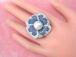 2.4ctw DIAMOND 4.5ctw SAPPHIRE 13.5mm SOUTH SEA PEARL HUGE FLOWER COCKTA... - $4,846.05