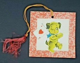 Vintage GIbson Bridge Tally Score Card Anthropomorphic Dog Ace of Hearts New - $12.99