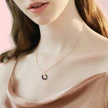 Swarovski Crystal Hollow Round Shaped Rose Gold Necklace image 6