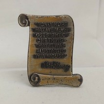 Walt Disney Cast Member Brass Scroll Quote It Was All Started by a Mouse Pin - $18.80