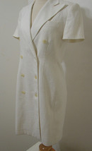 LAUREN RL Dress 100% Linen White Double Breasted Button Front 4 - $179.99