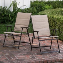 Folding Dining Chair Set of Two Patio Bistro Camping Weatherproof Sling ... - $65.49