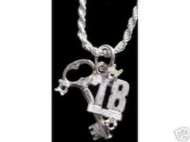 NICE Number 18 key Sterling Silver 925 Charm Happy Birthday - $14.24