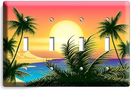 BEAUTIFUL CALIFORNIA BAY SUNRISE PALMS 4 GANG LIGHT SWITCH WALL PLATE RO... - $19.99