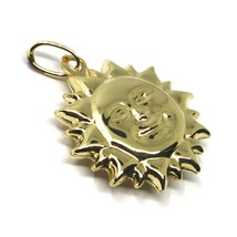 18K YELLOW GOLD SUN PENDANT BIG 22mm DIAMETER, ROUNDED SMOOTH ROUNDED, 2 FACES image 2
