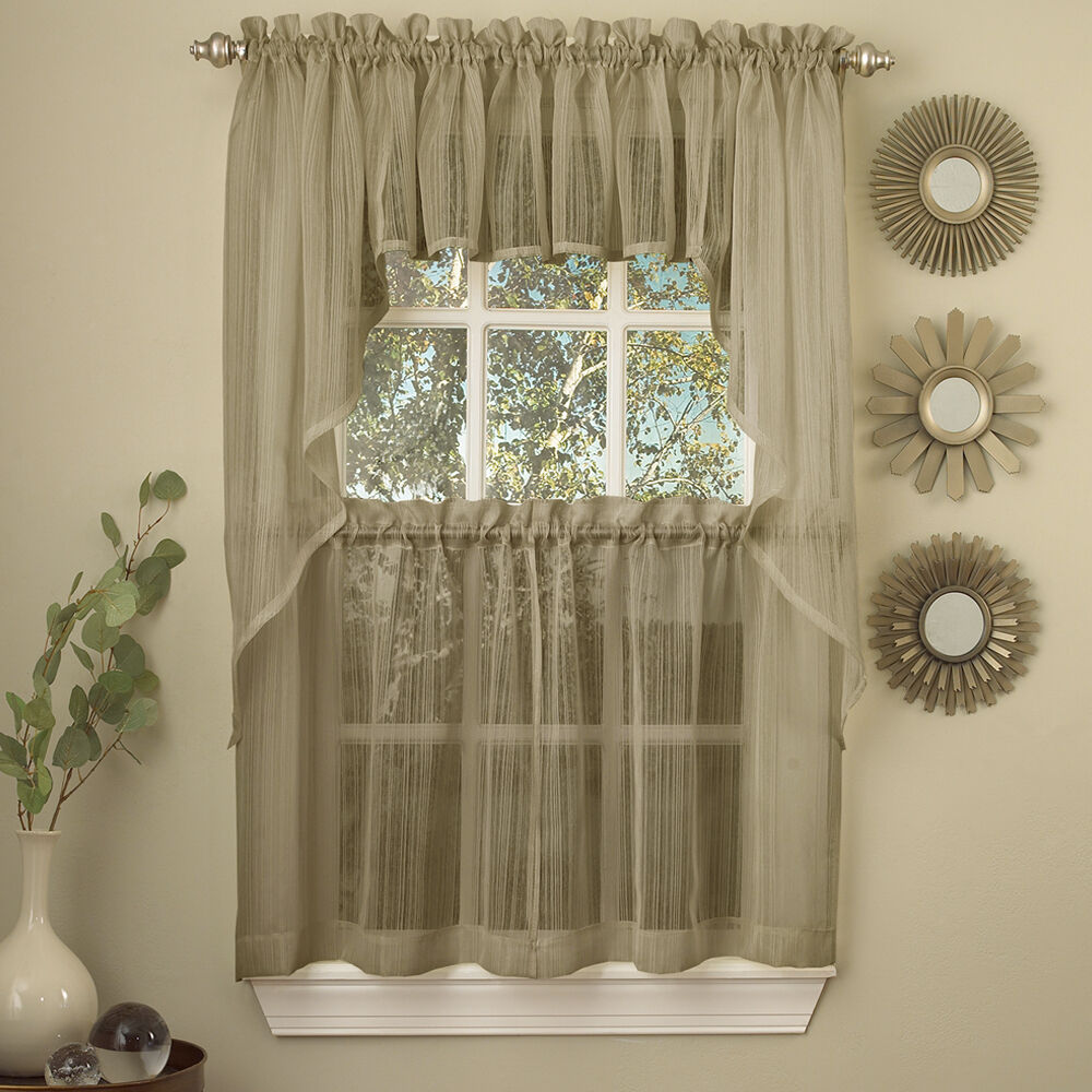 Primary image for Harmony Mocha Micro Stripe Semi Sheer Kitchen Curtains Tier or Valance or Swag